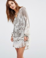 Religion Smock Dress In Muted Tie Dye