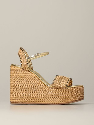 Casadei High Heel Shoes Wedge Sandal In Woven Raffia