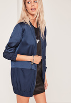 Missguided Longline Two Tone Bomber Jacket Navy