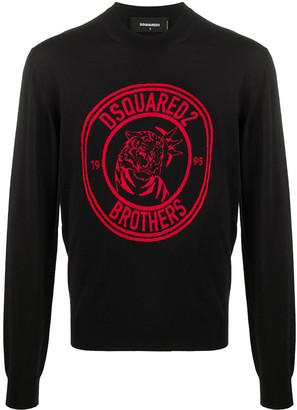 DSQUARED2 Brothers tiger-jacquard sweater