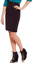 I.N. San Francisco Faux-Button Front High-Waist Pencil Skirt