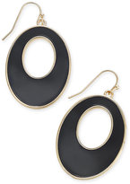 Thalia Sodi Gold-Tone and Jet Stone Oval Drop Hoop Earrings, Created for Macy's