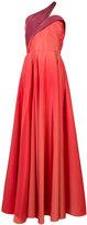 Carolina Herrera one shoulder flared gown