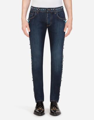 Dolce & Gabbana Stretch Skinny Jeans With Studs