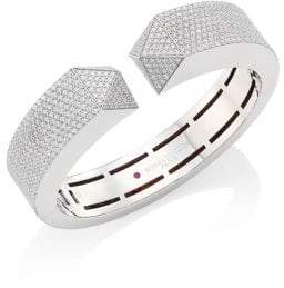 Roberto Coin Sauvage Privé Pyramid Pave Diamond& 18K White Gold Bangle