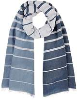 Barneys New York WOMEN'S STRIPED COTTON-BLEND BLANKET SCARF