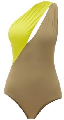 Marios Schwab Double Boa One-shoulder Bi-colour Swimsuit - Green Multi
