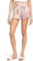 Leith Women's Ruffle Trim Floral Shorts