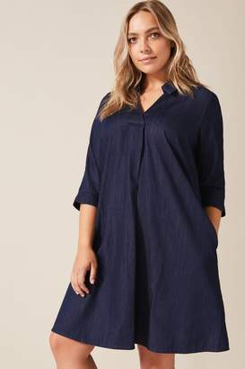Studio 8 Womens Blue Celia Shirt Swing Dress - Blue