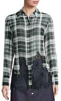 McQ by Alexander McQueen Fluid Plaid Silk Shirt