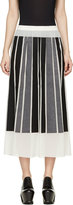 Viktor & Rolf Ivory Silk Gorgette Black & Grey Paneled Skirt