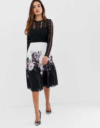 Lipsy 2 in 1 lace detail dress with pleated skirt in multi-Black