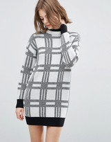 Asos Knitted Dress In Check With High Neck