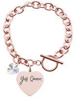 Swarovski Pink Box Women's Bracelets Rose - Rose Goldtone 'Yas Queen' Charm Bracelet With Crystals