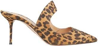 Aquazzura Forever Leopard Suede Mules