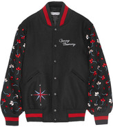 Opening Ceremony Embroidered Wool-blend Bomber Jacket - Black