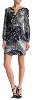 Hale Bob Faux Leather Trim Printed Wrap Dress