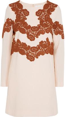 Chloé Lace-appliqued Wool-blend Mini Dress