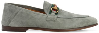 Gucci 10mm Suede Loafers W/horse Bit & Web