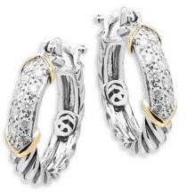 Effy Diamond, 14K Yellow Gold and Sterling Silver Hoop Earrings, 0.32 TCW