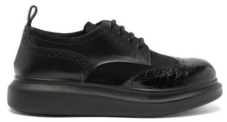 Alexander McQueen Raised-sole Leather And Suede Derby Shoes - Black