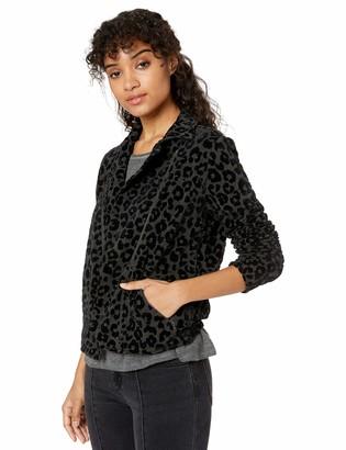 Majestic Filatures Women's Viscose/Elastane French Terry Leopard Print Moto Jacket