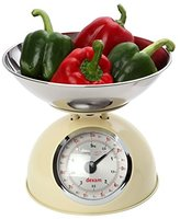 Dexam 5 kg Stainless Steel Retro Kitchen Scales with a Large Bowl, Cream