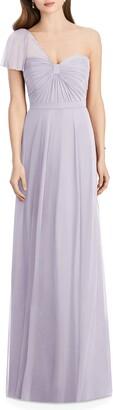 Jenny Packham One-Shoulder Chiffon A-Line Gown