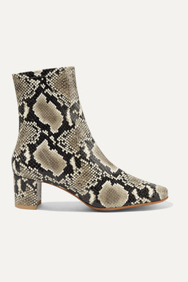 BY FAR Sofia Snake-effect Leather Ankle Boots - Snake print