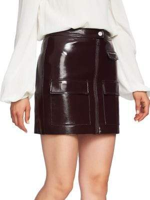 1.STATE Classic Faux Leather Mini Skirt