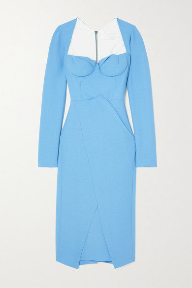 Thumbnail for your product : Roland Mouret Glasbury Wool-crepe Midi Dress - Light blue