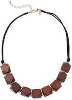 INC International Concepts Gold-Tone and Geometric Wood Statement Necklace, Only at Macy's