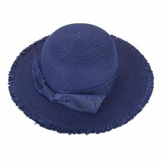 CHIC DIARY Women Sun Beach Hats Wide Brim Bowknot Straw Hat Floppy Foldable Cap Sun Hat UPF 50+ (Blue)