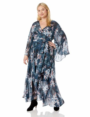 City Chic Women's Apparel Women's Plus Size Long Sleeve WRAP Printed Maxi Dress