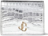 Jimmy Choo Metallic Croc-Embossed Bifold Wallet