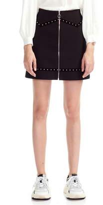 Maje Jimage Studded Mini Skirt with Velvet Trim