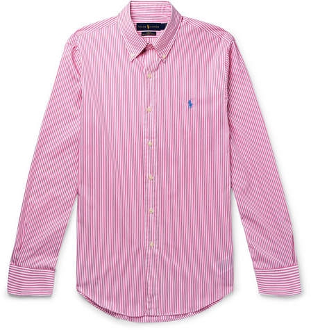 Polo Ralph Lauren Slim-Fit Button-Down Collar Striped Cotton-Poplin Shirt