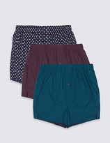 M&S Collection 3 Pack Pure Cotton Assorted Boxers