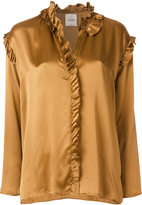 Nude frill trim blouse