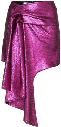 Halpern asymmetric hem mini skirt pink