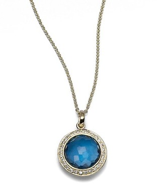 Ippolita Lollipop Small 18K Yellow Gold, London Blue Topaz & Diamond Pendant Necklace