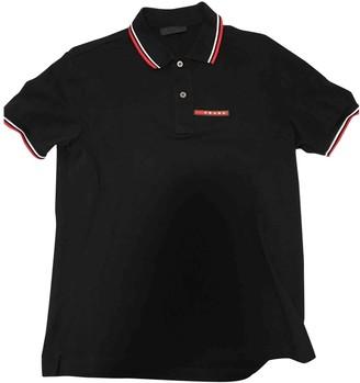 Prada Black Linen Polo shirts