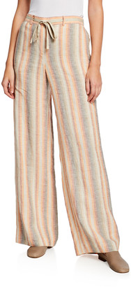 Lafayette 148 New York Columbus Skyscapes Stripes Wide-Leg Linen Pants