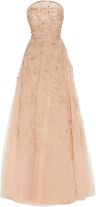 Marchesa Embellished Organza Strapless Gown