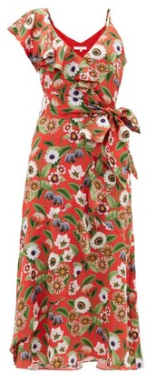 Borgo de Nor Isadora Asymmetric Floral-print Satin Midi Dress - Womens - Red Multi
