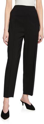 St. John Grain de Poudre Pintuck Stretch-Wool Pants w/ Side Zipper