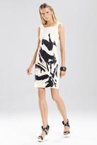 Josie Natori Spring Cotton Brushstroke Embroidered Dress