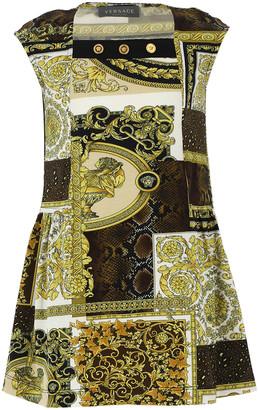 Versace Girl's Baroque Patchwork Cap-Sleeve Dress, Size 4-6