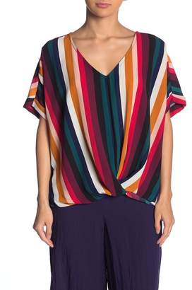 Blu Pepper Multi Stripe Short Sleeve Blouse