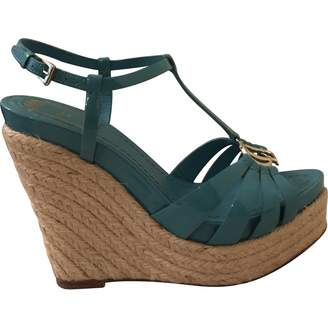 Christian Dior Turquoise Patent leather Espadrilles